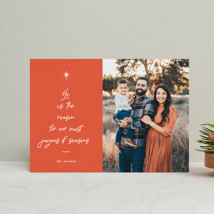 """He is the Reason"" - Modern Holiday Petite Cards in Tangerine by Catherine Culvenor."