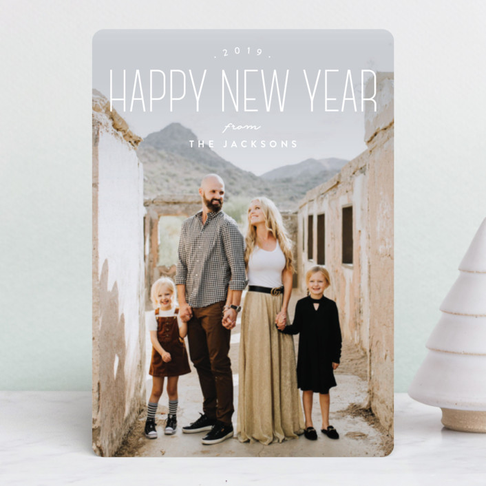 """Tallest New Year"" - Holiday Petite Cards in Snow by Owl and Toad."
