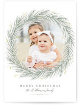 This is a green petite holiday card by Karidy Walker called Classic Wreath with standard printing on smooth signature in petite.