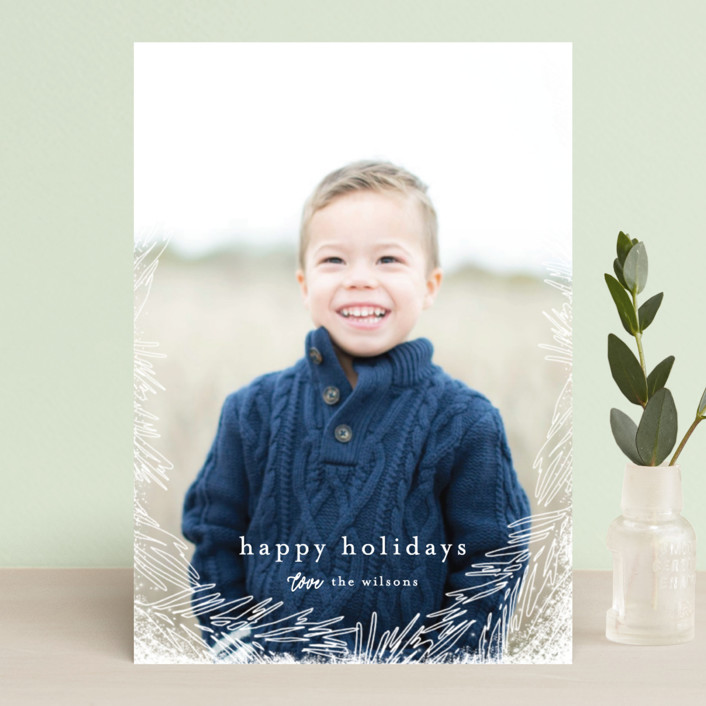 """Delicate Branch Border"" - Bohemian Holiday Petite Cards in Snow by Melanie Severin."