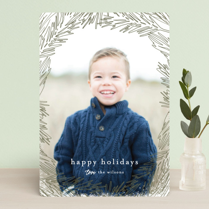 """Delicate Branch Border"" - Bohemian Holiday Petite Cards in Daisy by Melanie Severin."