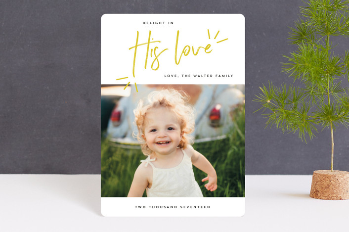 """""""Delight in His Love"""" - Modern Holiday Petite Cards in Mustard by Anna Elder."""