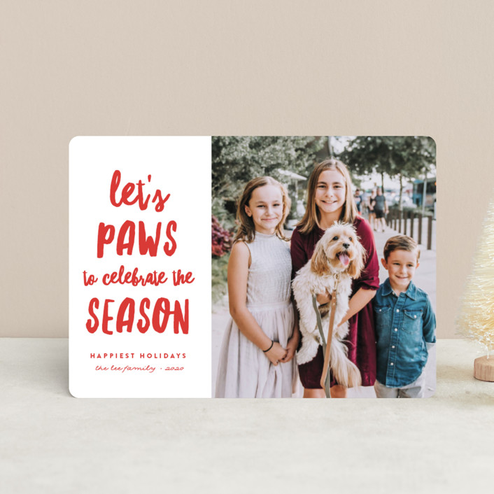 """""""Let's Paws"""" - Funny Holiday Petite Cards in Winter by Erica Krystek."""