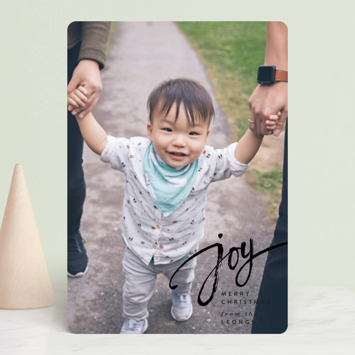 """""""Joy Script"""" - Holiday Petite Cards in Onyx by Owl and Toad."""