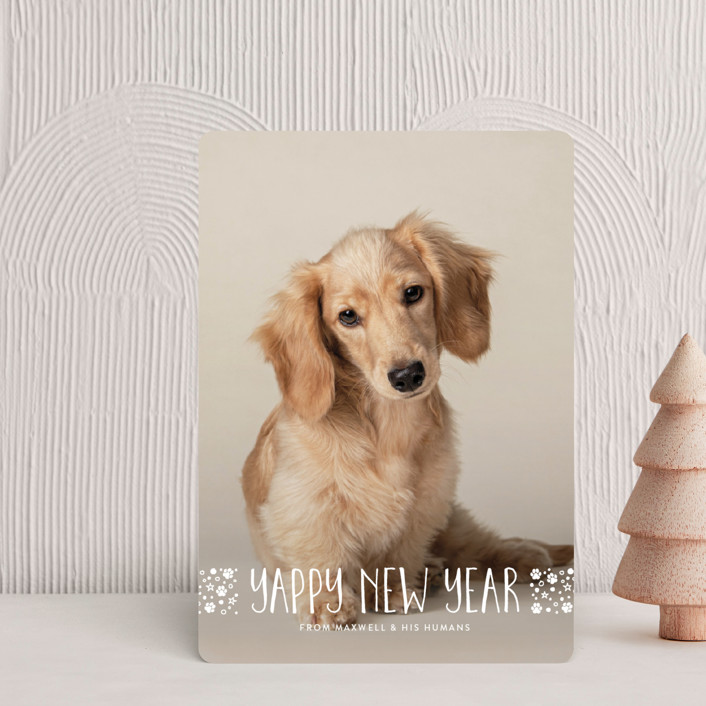 """""""naughty dog"""" - Funny Holiday Petite Cards in Linen by Erin Deegan."""