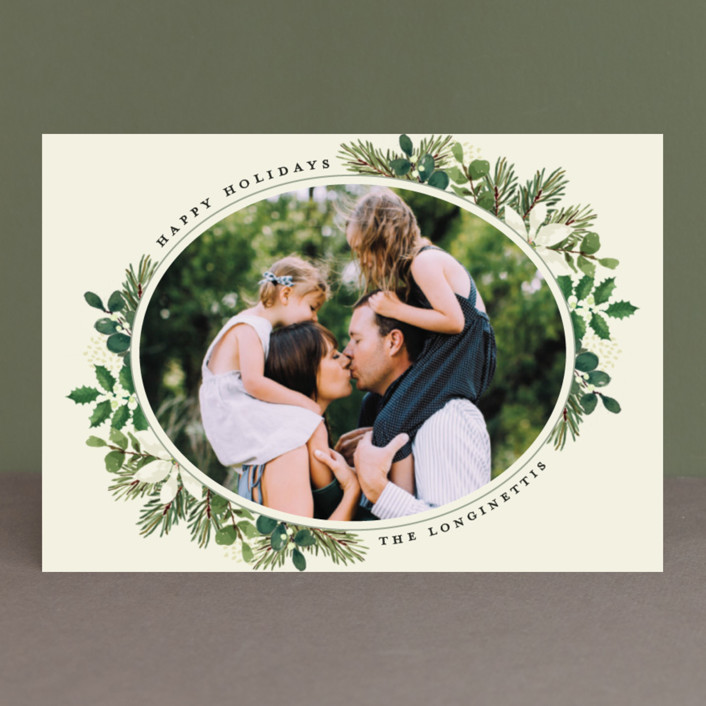 """""""Poinsettia Greens"""" - Holiday Petite Cards in Cream by Chris Griffith."""
