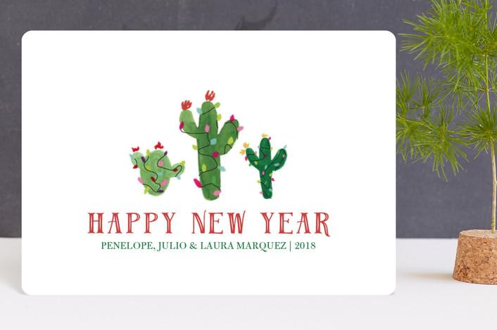 """Feliz Navidad Cactus"" - Holiday Petite Cards in Snow by Erika Firm."