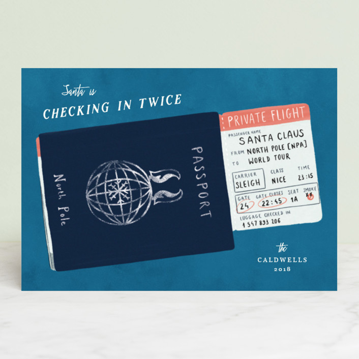 """Checking in twice"" - Funny Holiday Petite Cards in Sky by Gwen Bedat."