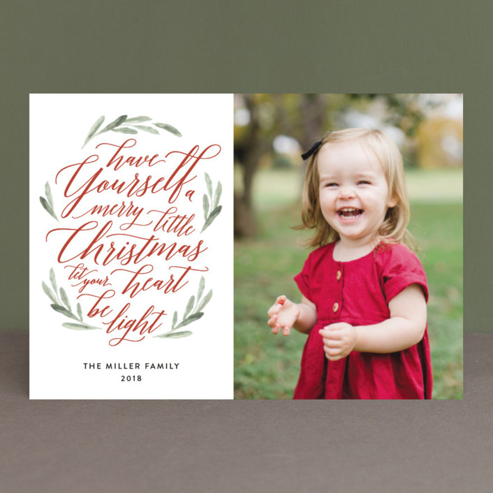 """""""Scripted Christmas"""" - Holiday Petite Cards in Berry by Jennifer Postorino."""