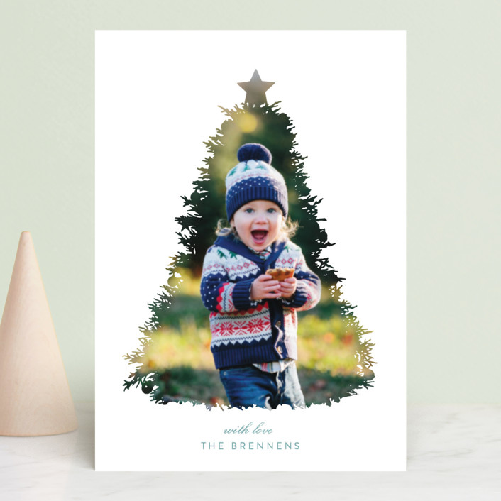 """""""A Christmas Tale"""" - Modern, Bohemian Holiday Petite Cards in Coal by Christie Kelly."""