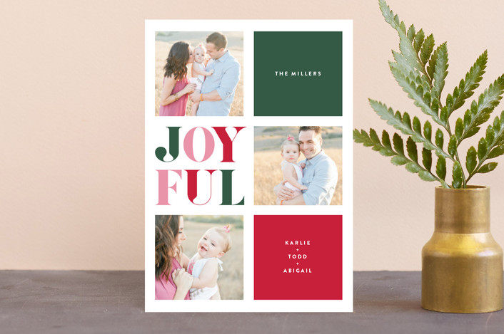 """""""Jolly Blocks"""" - Modern Holiday Petite Cards in Stocking by Carrie ONeal."""