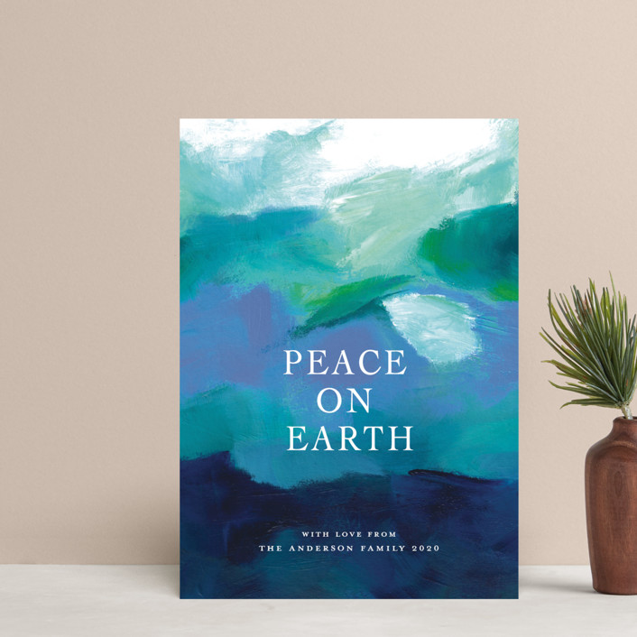 """""""Peaceful Earth"""" - Holiday Petite Cards in Ocean by Jenny Partrite."""