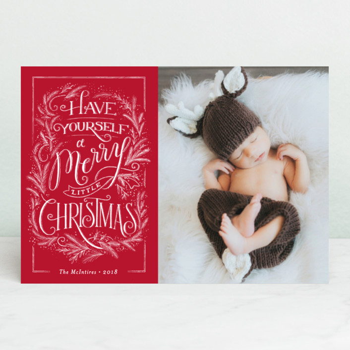 """Merry traditional Christmas"" - Vintage Holiday Petite Cards in Candy Cane by Jennifer Wick."