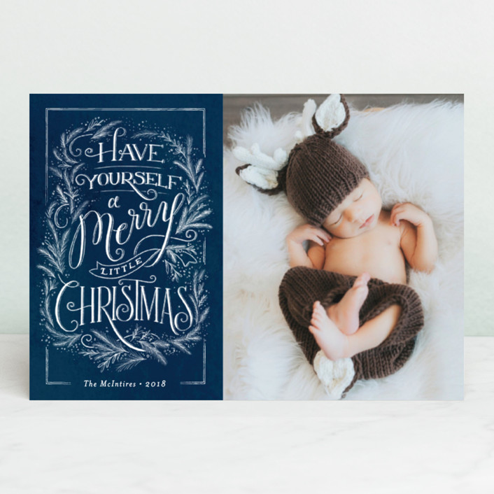 """""""Merry traditional Christmas"""" - Vintage Holiday Petite Cards in Midnight by Jennifer Wick."""