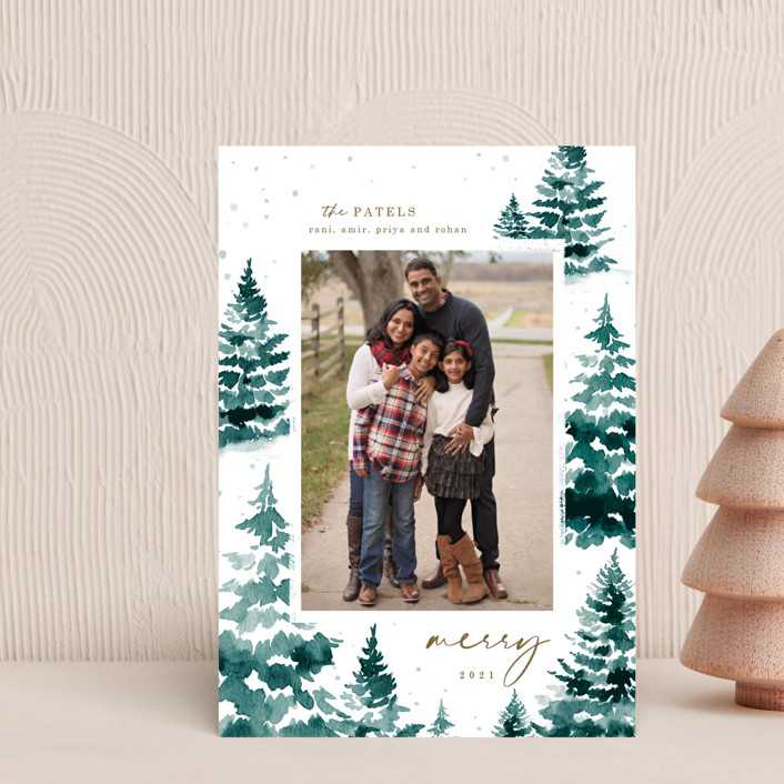 """in the snowy woods"" - Holiday Petite Cards in Blue Spruce by Helen Halik."
