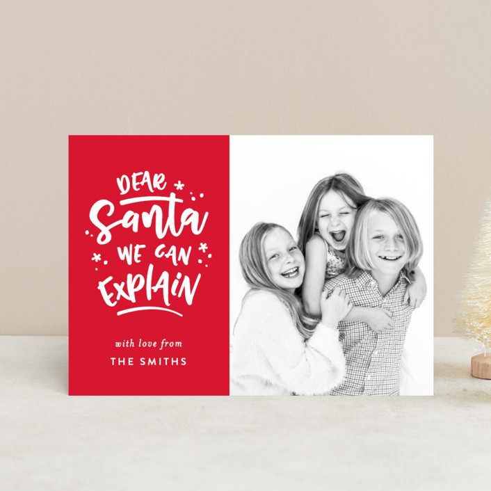 """""""Dear Santa"""" - Funny Holiday Petite Cards in Cardinal by Michelle Poe."""