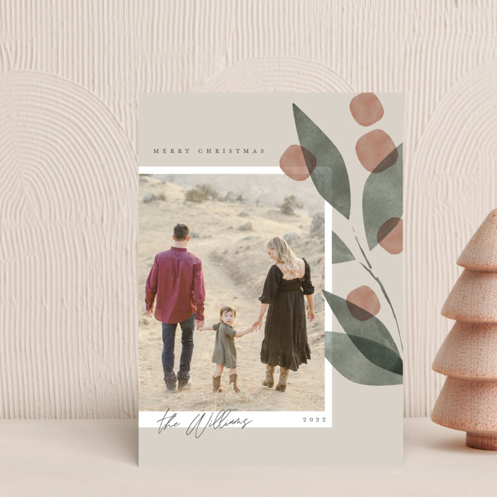 """""""Botanical Branch"""" - Holiday Petite Cards in Cream by Robert and Stella."""
