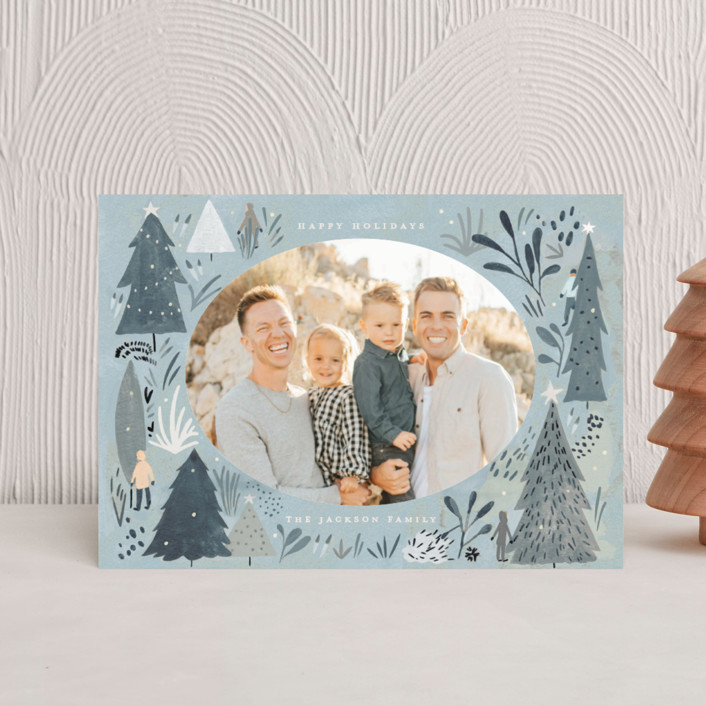 """""""Wonderland Forest"""" - Bohemian Holiday Petite Cards in Seafoam by Morgan Ramberg."""