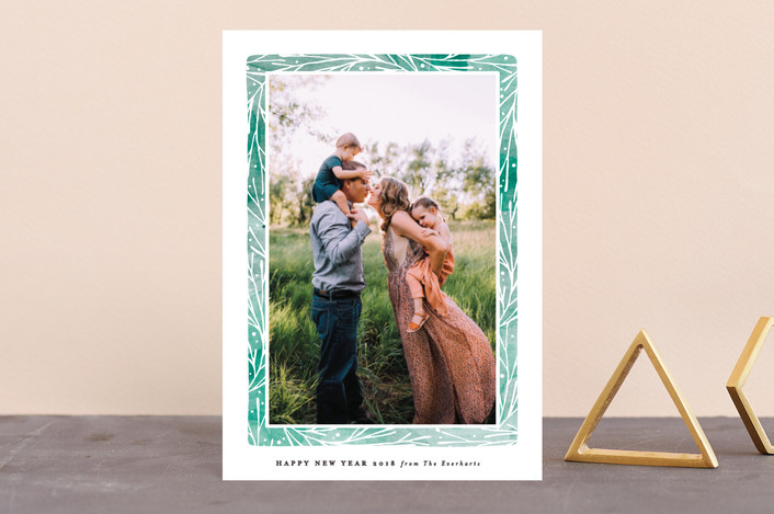 """Organic Frame"" - Bohemian Holiday Petite Cards in Viridian by Olivia Raufman."