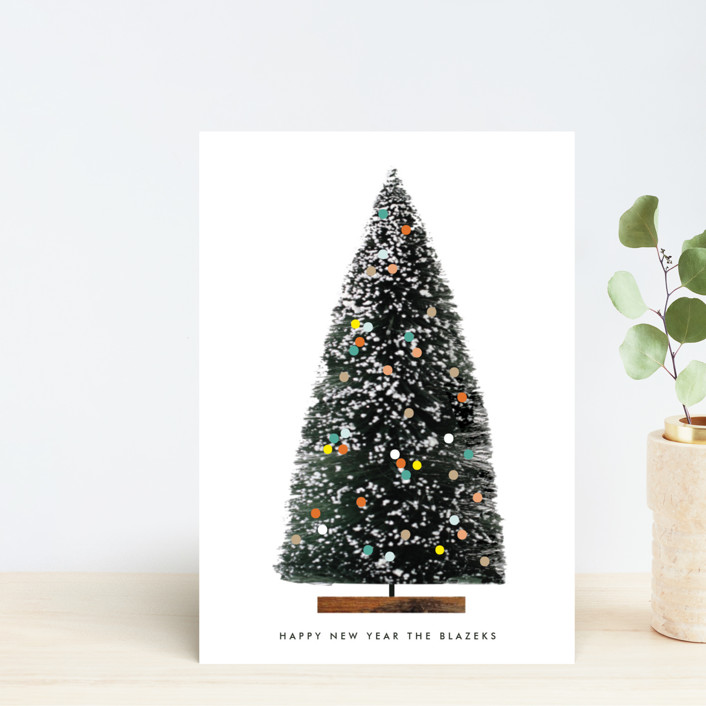 """""""ornament evergreen"""" - Modern Holiday Petite Cards in Ivory by Baumbirdy."""