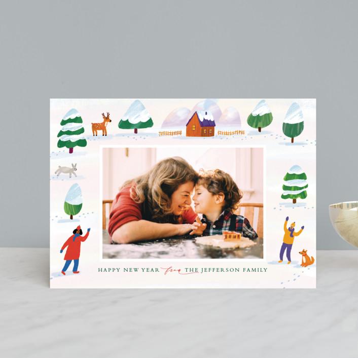 """winter wonderland landscape"" - Bohemian Holiday Petite Cards in Pumpkin by Alexandra Dzh."