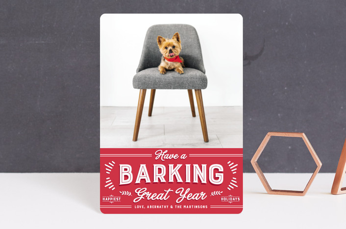 """barking great season"" - Funny Holiday Petite Cards in Red Apple by Guess What Design Studio."
