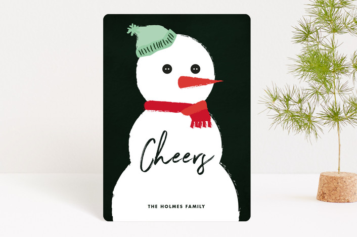 """Snowman"" - Holiday Petite Cards in Coal by Jennifer Lew."