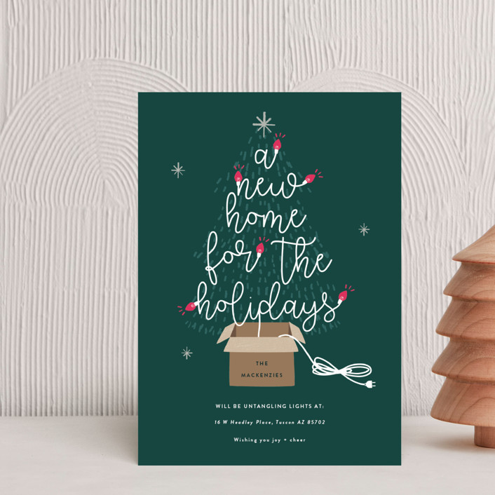 """Twinkling New Home"" - Holiday Petite Cards in Spruce by Bonjour Berry."