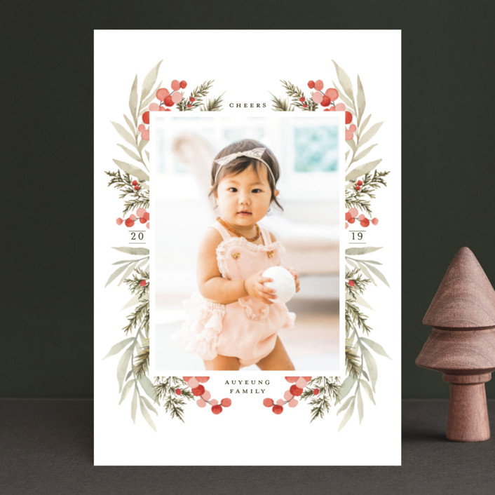 """""""Symmetrical Floral Border"""" - Holiday Petite Cards in Cranberry by Wildfield Paper Co.."""