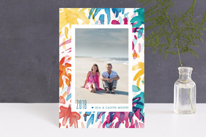 """Fireworks Frame"" - Modern Holiday Petite Cards in Tropics by Iron Range Artery."