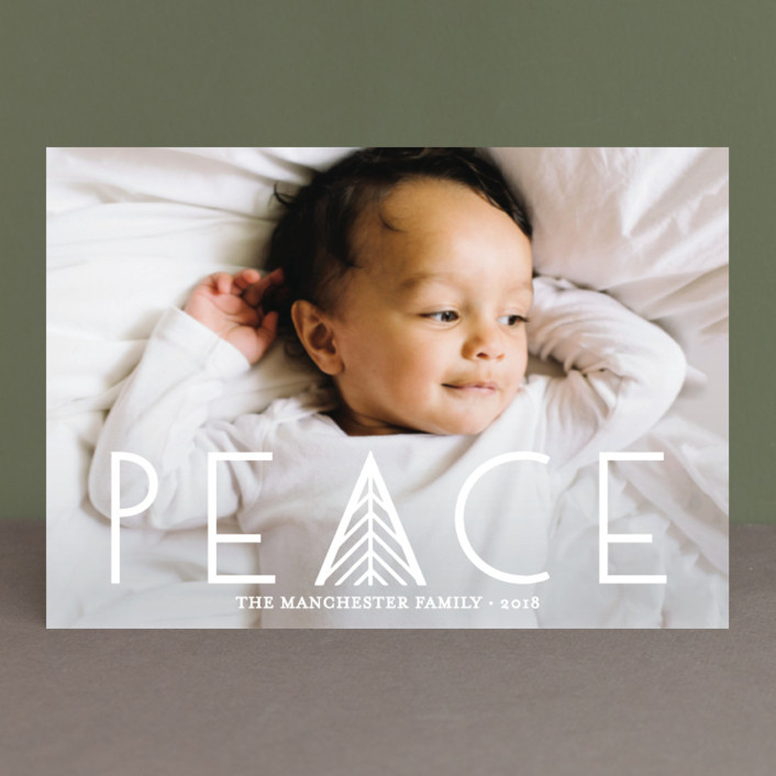 """Herringbone Peace"" - Holiday Petite Cards in Snow by Abby Munn."