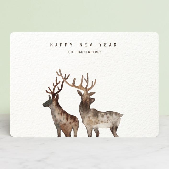 """""""Merry Christmas, My Deers"""" - Bohemian Holiday Petite Cards in Brown Beige Deer by jinseikou."""