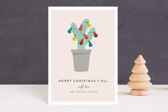 """Texas Christmas Tree"" - Funny Holiday Petite Cards in Taupe by Kampai Designs."