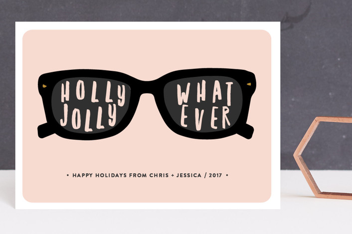 """""""Holly Jolly"""" - Funny Holiday Petite Cards in Bubble Gum by Susan Brown."""