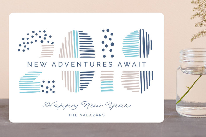 """Date Doodle"" - Modern Holiday Petite Cards in Blue Spruce by Pixel and Hank."