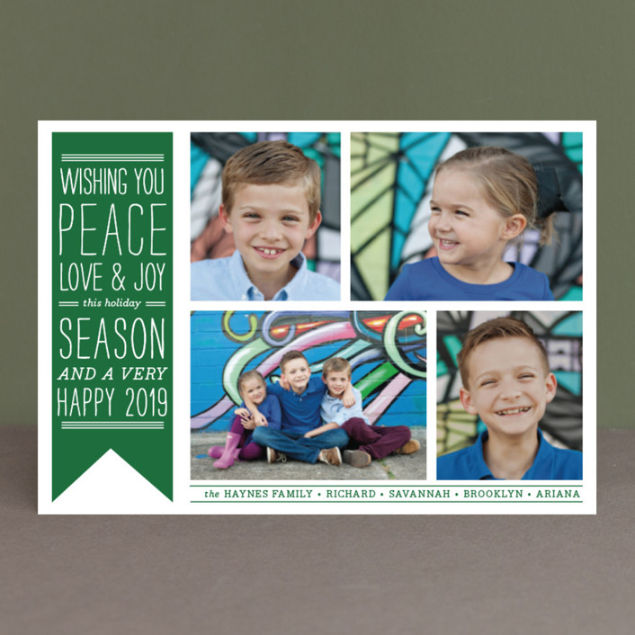 """Wish Banner"" - Vintage Holiday Petite Cards in Candy Cane Red by The Social Type."