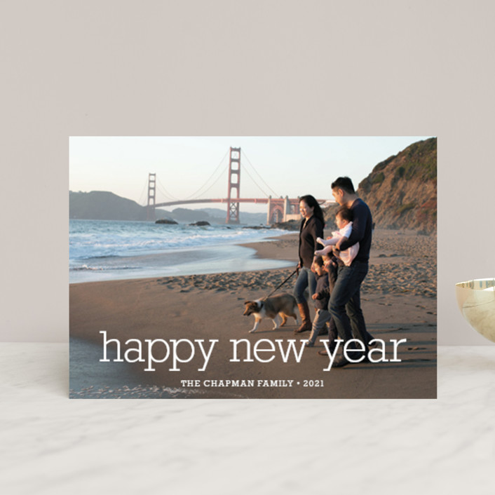 """""""Happy Everything"""" - Full-Bleed Photo, Modern Holiday Petite Cards in Snow by annie clark."""