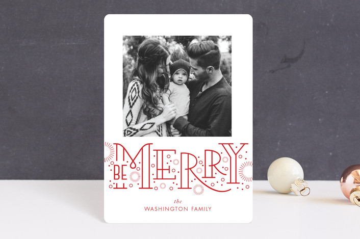"""Merry Bursts"" - Modern Holiday Petite Cards in Poinsettia by SunnyJuly."