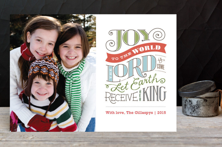 """Joy to the World"" - Modern, Minimalist Holiday Petite Cards in Frost by Jennifer Wick."