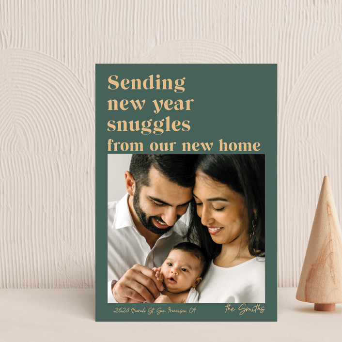 """""""Holiday Snuggles"""" - Funny Holiday Petite Cards in Sage by Catherine Culvenor."""