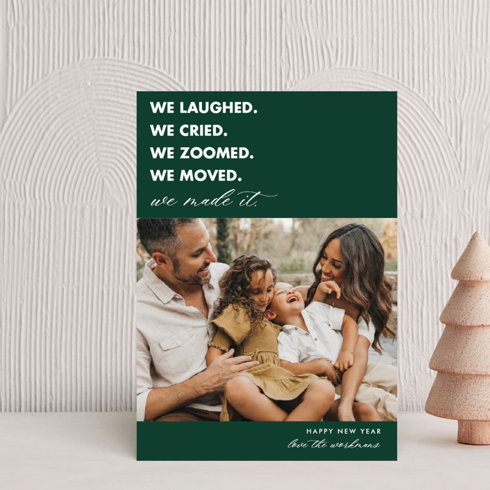 """""""We Made It"""" - Funny Holiday Petite Cards in Pine by Beth Schneider."""