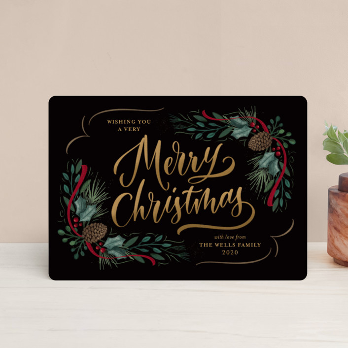 """""""Festive Greenery"""" - Holiday Petite Cards in Midnight by Laura Bolter Design."""