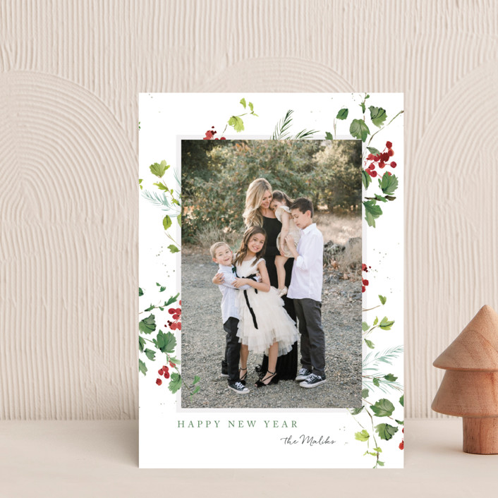 """""""Festive Ivy"""" - Holiday Petite Cards in Snow by Kelly Ventura."""