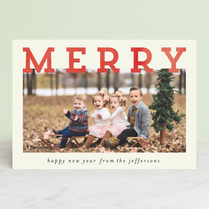"""Merry and Silly"" - Holiday Petite Cards in Cream by Chris Griffith."