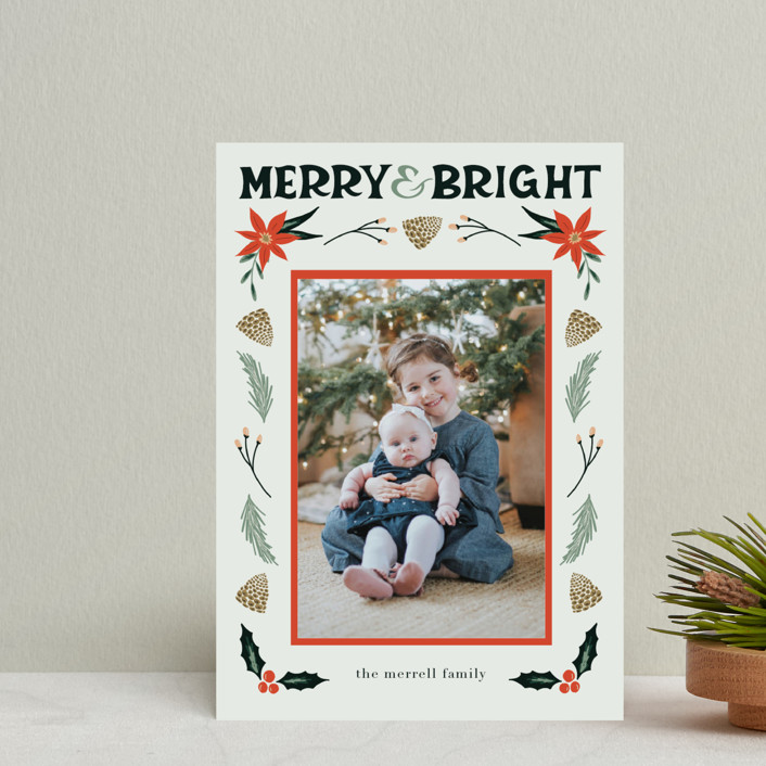 """""""Merry, Bright"""" - Holiday Petite Cards in Fog by Amanda Houston."""