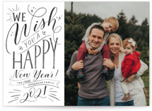 This is a black petite holiday card by Nicole Barreto called Hand-lettered Wish with standard printing on smooth signature in petite.