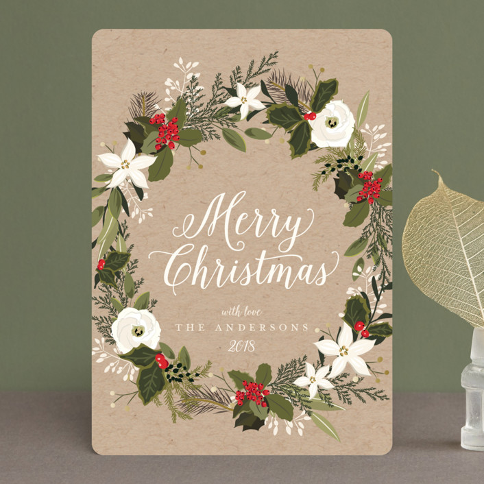 """Floral & Pine Wreath"" - Holiday Petite Cards in Kraft by Susan Moyal."