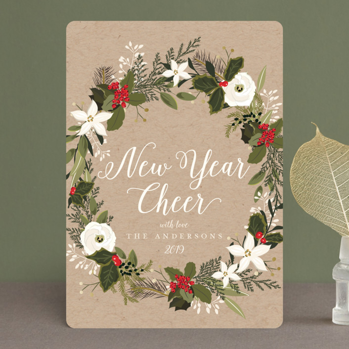 """""""Floral & Pine Wreath"""" - Holiday Petite Cards in Kraft by Susan Moyal."""