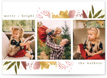 This is a pink petite holiday card by Grace Kreinbrink called Fresh Blooming Frame with standard printing on smooth signature in petite.
