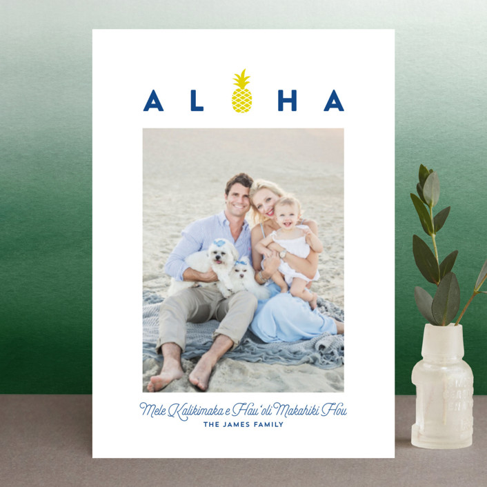 """aloha kalikimaka"" - Holiday Petite Cards in Navy by Guess What Design Studio."
